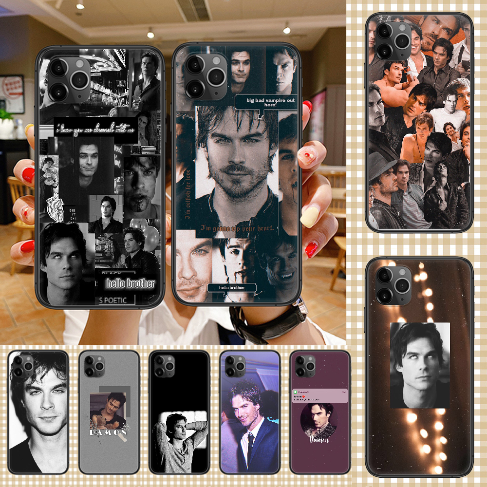 The Vampire Diaries Damon Salvatore Phone Case Cover Hull For iphone 5 5s se 2 6 6s 7 8 12 mini plus X XS XR 11 PRO MAX black