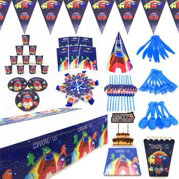 Among Us Theme Party Supplies Disposable Tableware Cup Plate Napkin Straw Balloon Hat Happy Birthday Kid's Favorite Decoration 90pcs lot princess theme party decoration package for kids birthday party disposable supplies cup plate straw napkin flag