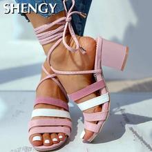 Women Summer High Heels Sandals Shoes Woman Open Toe Cross-t