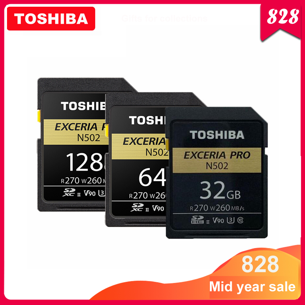 TOSHIBA SD Card 32GB SDHC U3 64GB 128GB SDXC V90 UHS-II Memory Cards N502 EXCERIA PRO Up To 270MB/s Support 8K Video Recording