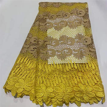 Wholesale African Lace Fabric 2019 High Quality Lace French Lace Fabric Stone Lace Fabric Beautiful Yellow White Color ! ZQ40520