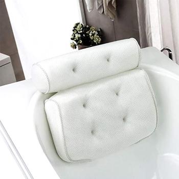 Oddychająca siatkowa poduszka do kąpieli 3D z przyssawkami szyja i poduszka pod szyję do domowego jacuzzi akcesoria łazienkowe tanie i dobre opinie CN (pochodzenie) Ekologiczne Spa Pillow Cushion 3D Mesh Bath Pillow Bathtub Pillow Comfort Support Relaxing Tool Spongy Cushion