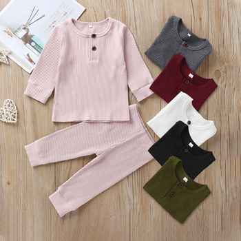 2020 New Arrival Spring Baby Boys Girls Tracksuit Children Solid Ribbed Cotton Clothing Set Infant Toddler Sleepwear Pajamas set цена 2017