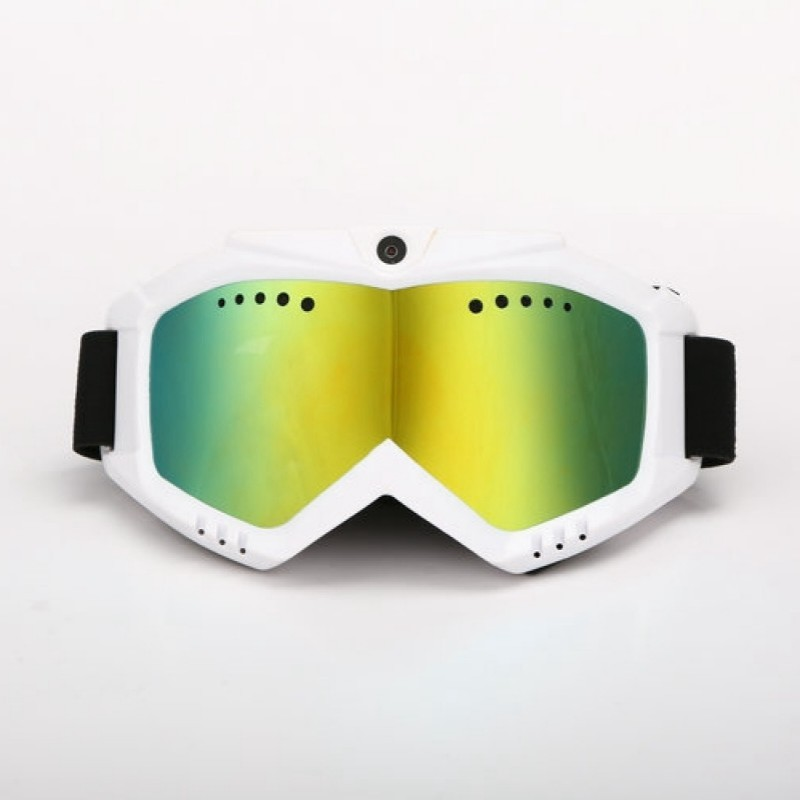 1080P HD Camera With Ski-Sunglass Goggles With White Double Anti-Fog Lens For Ski/Transparent Lens For Moto Battery Built-in