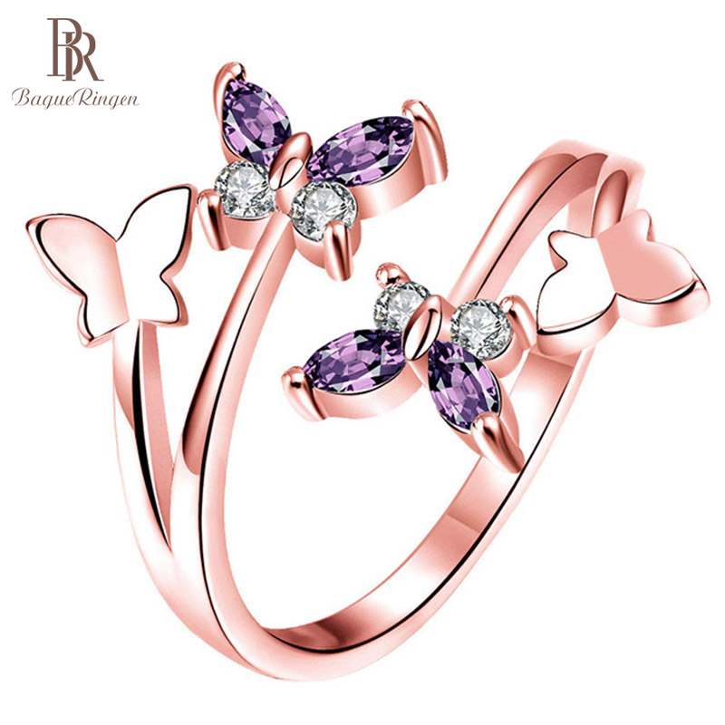 Bague Ringen Silver 925 Jewelry Ring Korean Style Amethyst Gemstone Flower Shape Opening Adjustable Ring For Women Top Qualtiy