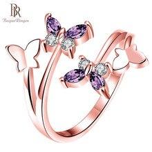 Bague Ringen plata 925 anillo de joyería estilo coreano amatista forma de flor anillo ajustable de apertura para mujeres de alta calidad