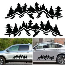 Tree Mountain Car Sticker Decor PET Reflective Forest For SUV RV Camper Offroad Black/White Decal Mayitr
