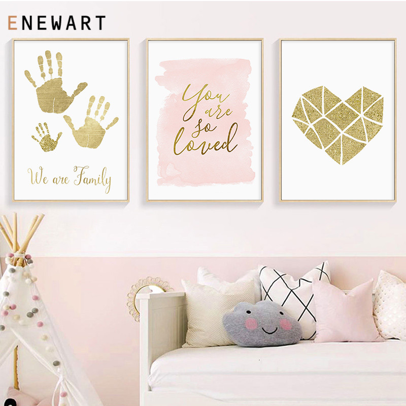 Golden Family Fingerprint Nursery Quote Art Canvas Poster Minimalist Print Geometry Heart Painting Wall Picture for Living Room