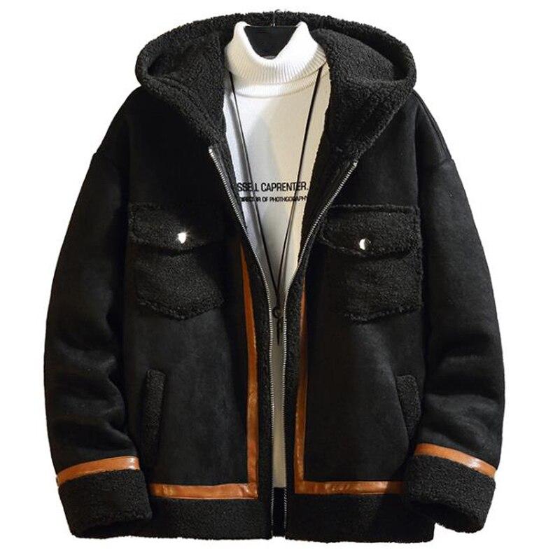 In Stock Hooded Velvet Fur Coats Winter Automotive Mans Faux Fur Jackets Coats XXXXXL Streetwear Korean Fashion Overcoats B777