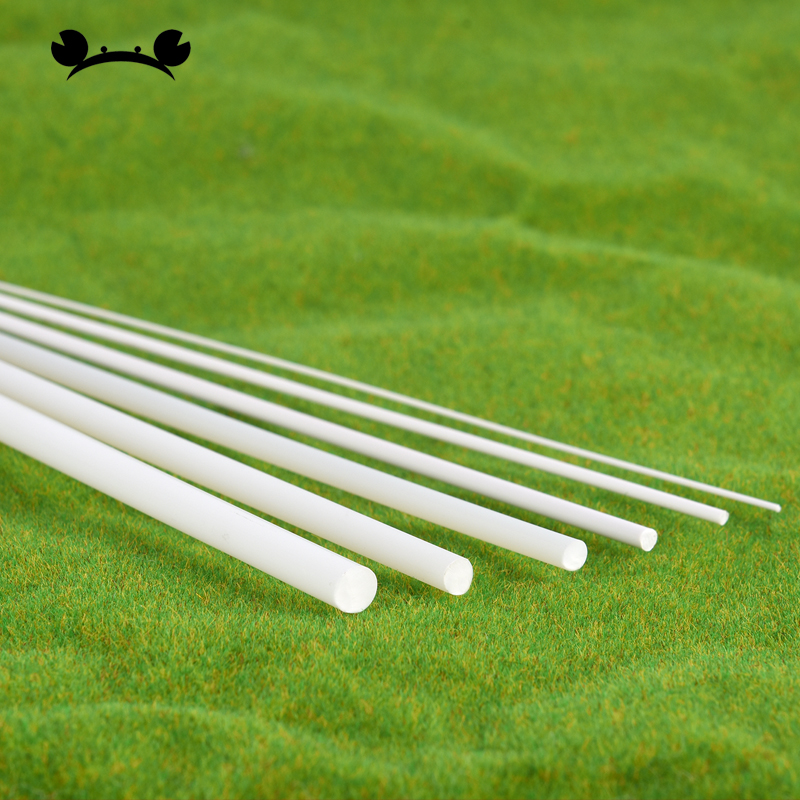 FRP Fiberglass Round Rod 5mm Dia 50cm Length White Engineering Round Bars 3pcs