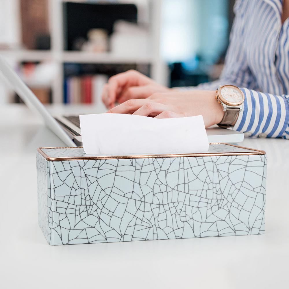 Marble Golden Rim Tissue Box Desktop Washroom Napkin Towel Holder Office Desk Tissue Protected Case Metal Edge Ice Crack Boxes