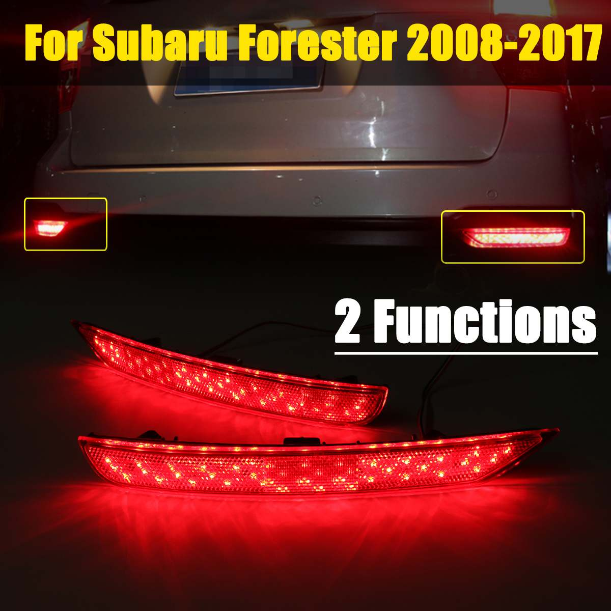 2 Functions 2PCS For Subaru Forester 2008-2017 LED Rear Bumper Reflector Light Red Car Driving Brake Fog Trim Molding Tail Lamp