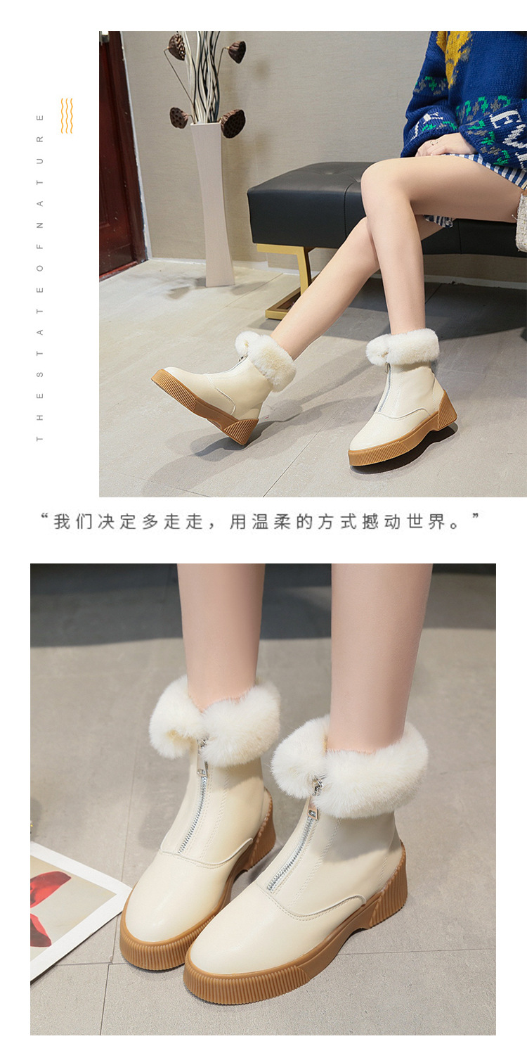 Women Short Ankle Boots Winter Plush Warm Thick Bottom Platform Round Toe Students Leisure Flat Ankle Snow Boots Botas Mujer 39