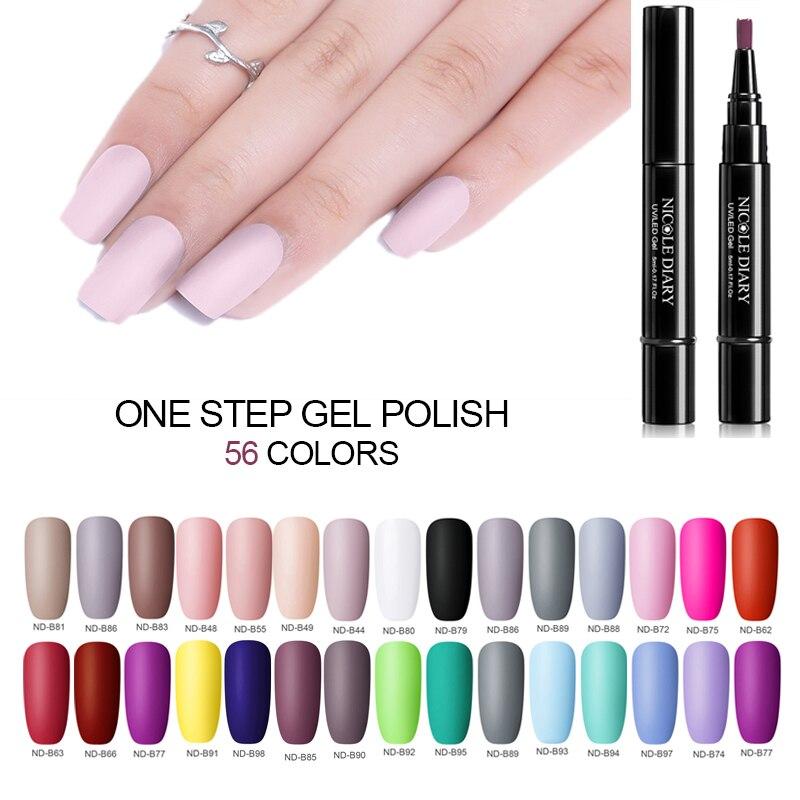 NICOLE DIARY Pure 56 Colors Nail UV Gel Polish Nail Varnish Pen One Step 3 In 1 Nail Art Color Gel Matte Top Coat Soak Off