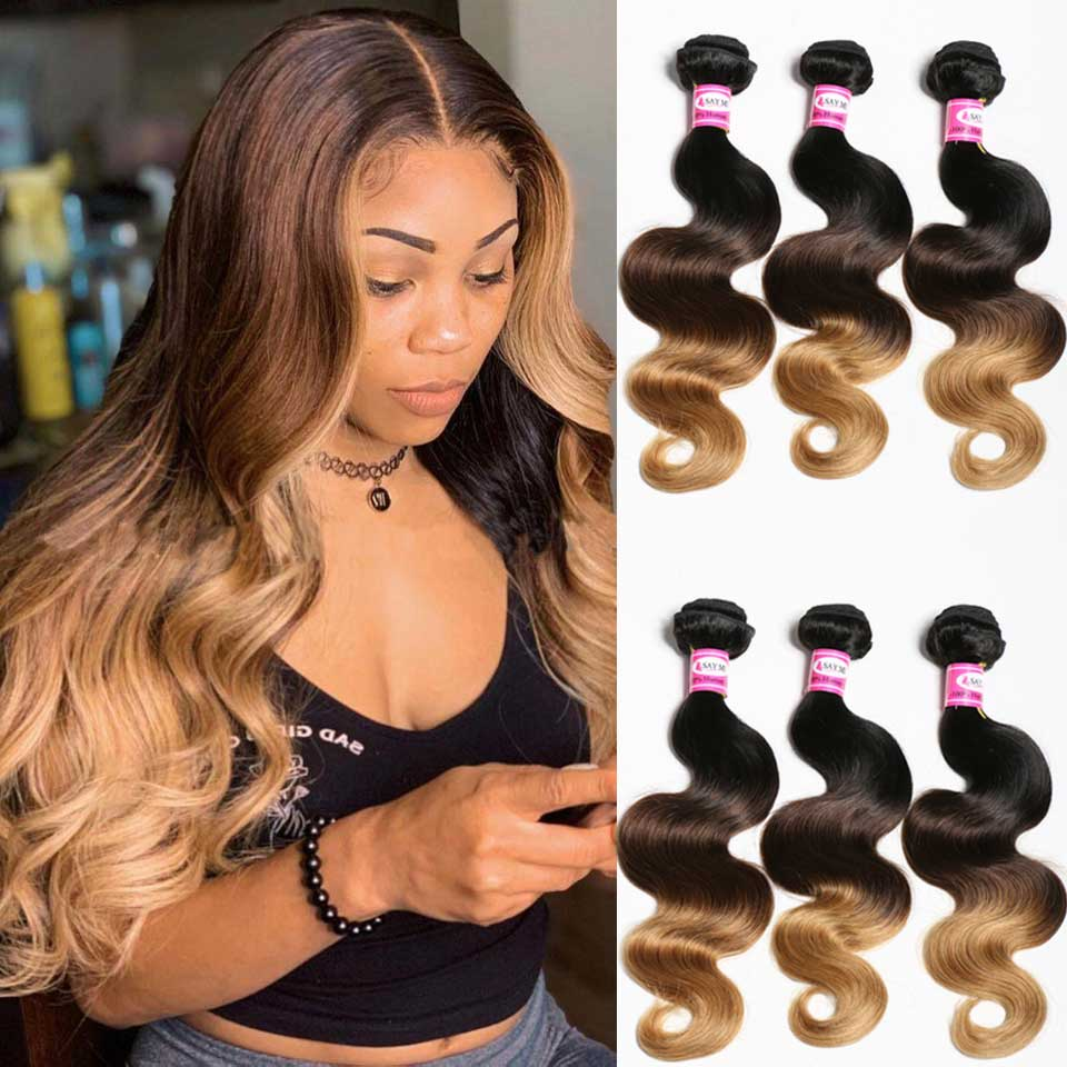 SAYME 3 4 Bundles Ombre Body Wave Bundles Peruvian Hair Weave Bundles 1B/4/27 30 Ombre Hair Bundles Remy Human Hair Extensions