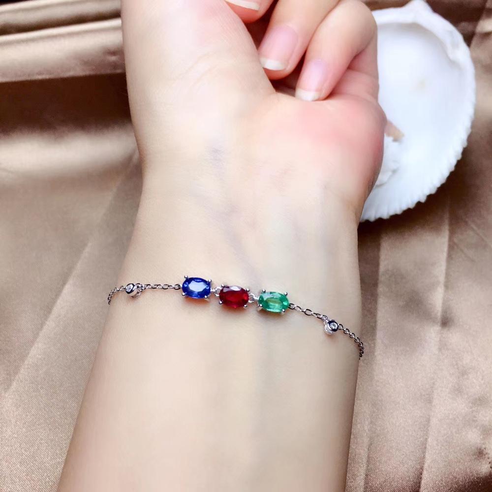 Bracelet en pierres précieuses bleu vert rouge pour femmes avec des bijoux en argent