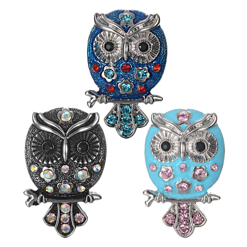10pcs/lot New Ginger Snap Jewelry Antique Crystal Owl Snap Buttons Fit 18mm Snap Button Bracelet Bangles DIY Jewelry VN-2068*10