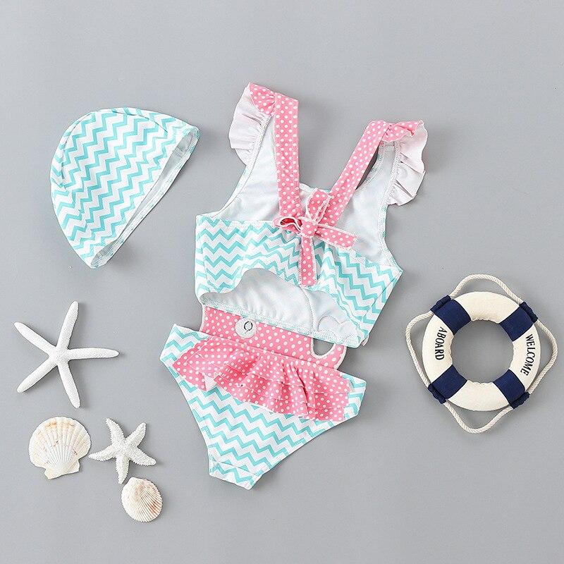 INS KID'S Swimwear Little Princess One-piece Swimwear Baby Infant GIRL'S Cute South Korea Pink & Whalewatching Tours Bathing Sui