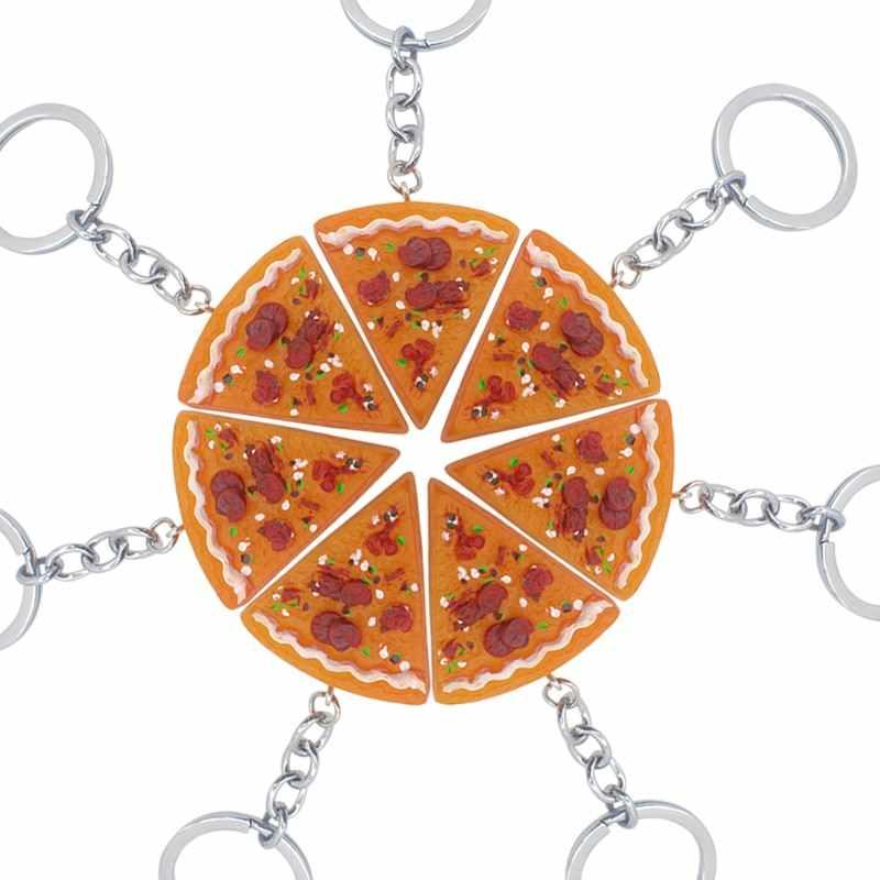 Tốt Nhất Bạn Tình Bạn Tự Động Sáng Tạo Cho Người Bạn Pizza BFF Móc Khóa Thực Phẩm Pizza Tự Động Dây Chuyền Chìa Khóa Vòng Giá Đỡ