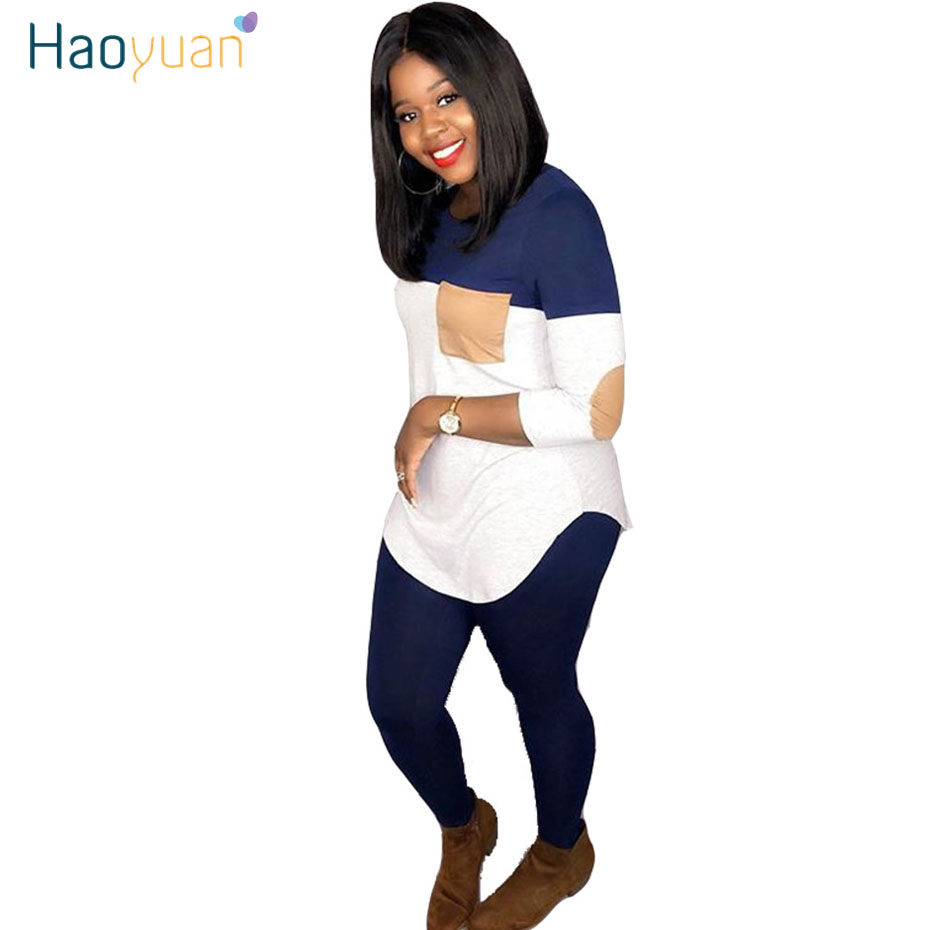 HAOYUAN Plus Size Two Piece Set Women Tracksuit Top And Joggers Pant Sweatsuit 2 Piece Outfits Rave Fall Clothes Matching Sets