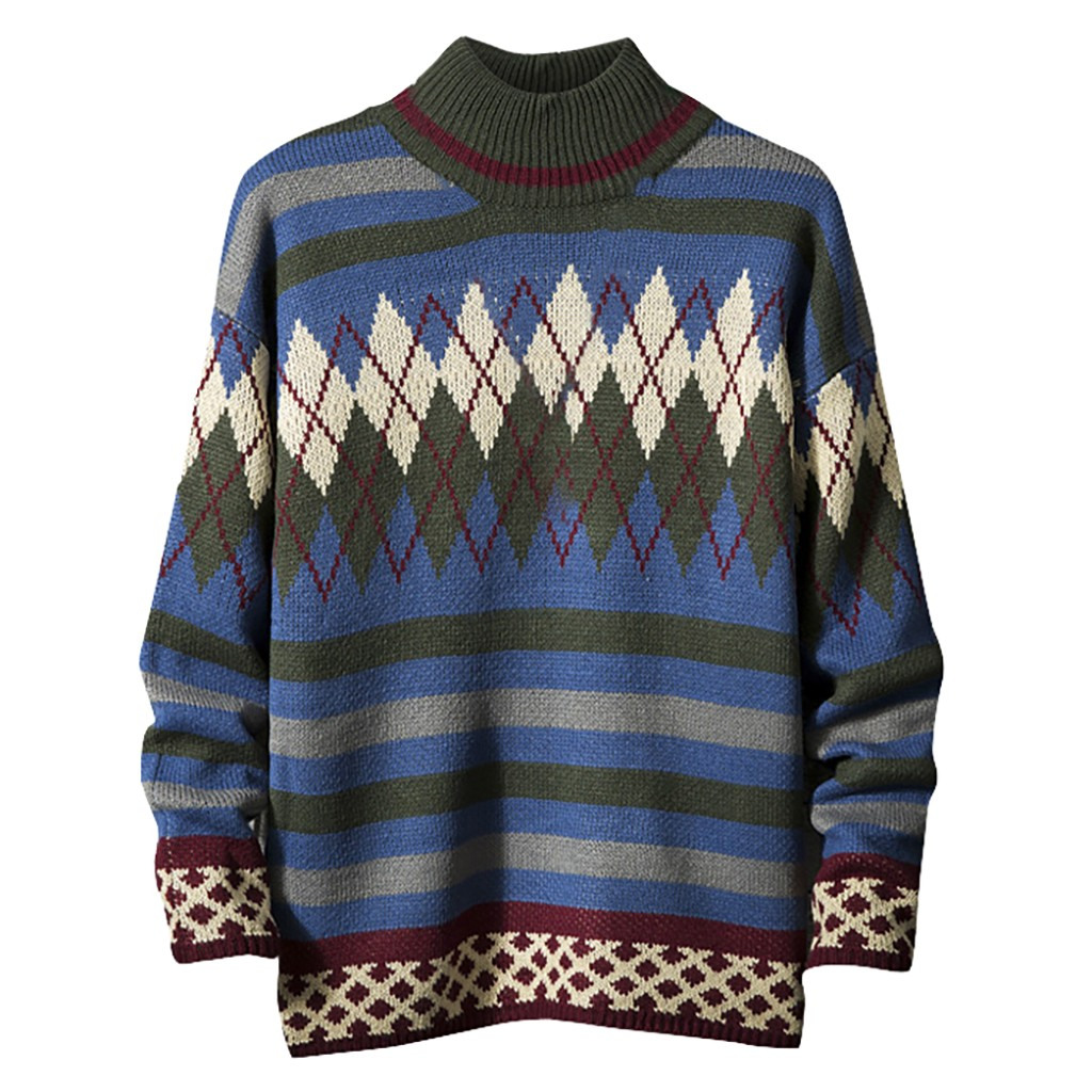 Men's Casual Knitted Sweater Ethnic Style Printing O-Neck Long Sleeve Winter Pullovers Tops Autumn Patchwork Pullover Knitwear