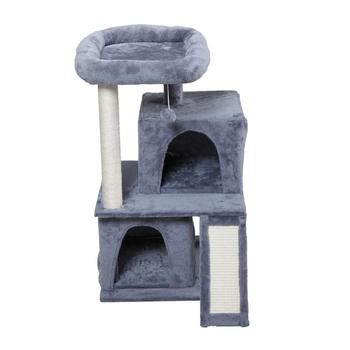 Cat Tree House Multi-Level With Two Floors Ball Animal Funny Sisal-Covered Scratching Post Protecting Furniture Pet House PT0184
