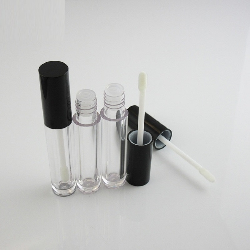 5ML Empty Lip Gloss Tubes with Wand Round Black Clear Cosmetic Packaging Makeup Lip Gloss Lipgloss Containers Tubes 50 pcs/lot image