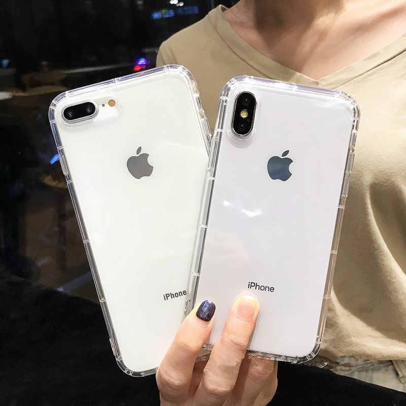 Простой Противоударный бампер прозрачный силиконовый чехол для телефона iPhone XS XR XS Max 8 7 6S Plus Полный пакет гассумка задняя крышка для 11 Pro Max