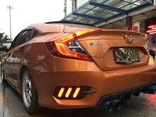 1Pair For Honda Civic 2016 2017 2018 2019 LED DRL Rear Bumper tail light fog lamp Brake Lights Signal lamp DRL reflector цена