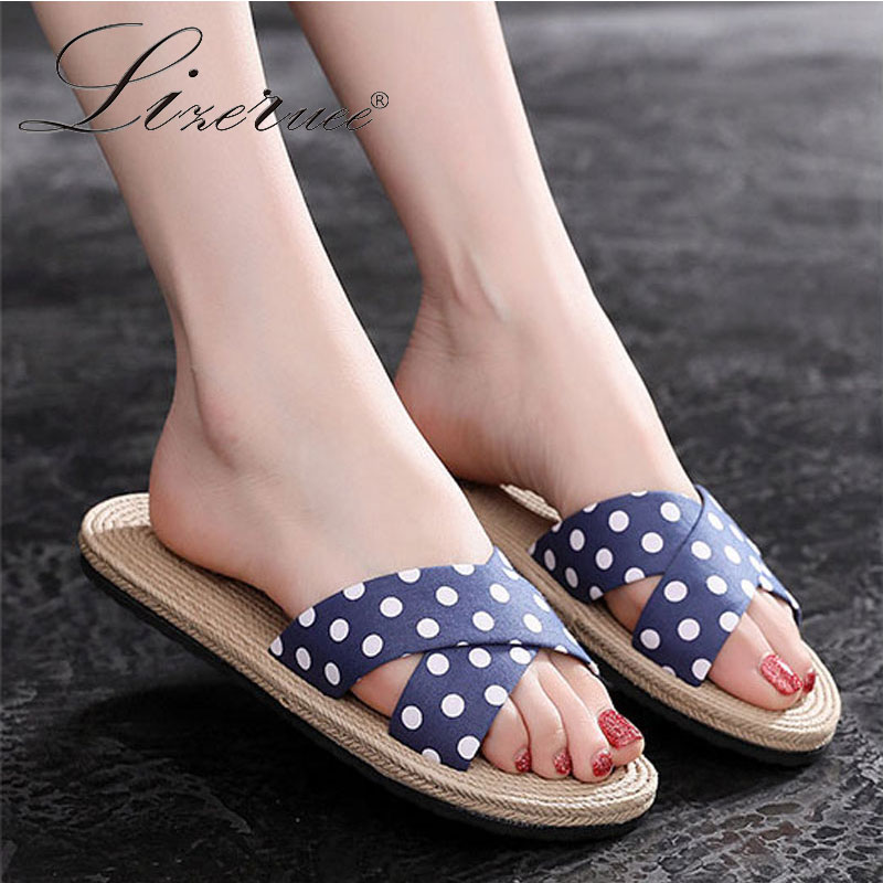Lizeruee Fashion Outdoor Solid Wild Dots Slippers Women Flats Hemp Cross Flip Flops Open Toe Beach Shoes Women Slippers Cozy