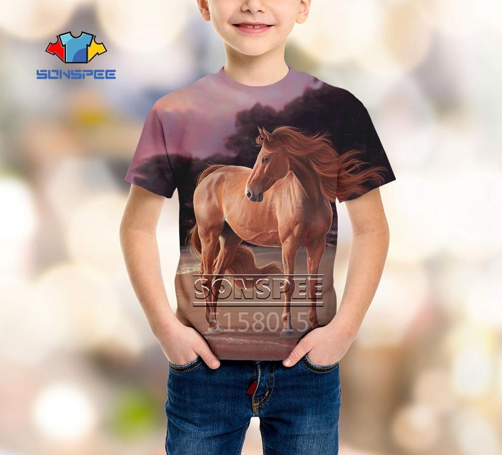 SONSPEE Handsome Horse Animal Harajuku 3D Print Boys Girls Teens Clothes T Shirt Unisex Short Sleeve Top Tees Pullover Kids X60b