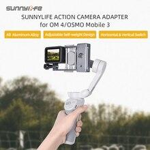 Liga de alumínio handheld cardan adaptador acessórios da câmera ação adaptador interruptor montagem placa estabilizador para gopro 9 dji om 4/ 3