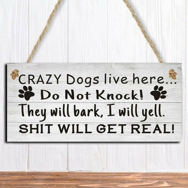 2020 New Pet Products Letter Pattern Funny Crazy Dog Sign Board Hanging Letter Print Warning Doorplate Door Decor