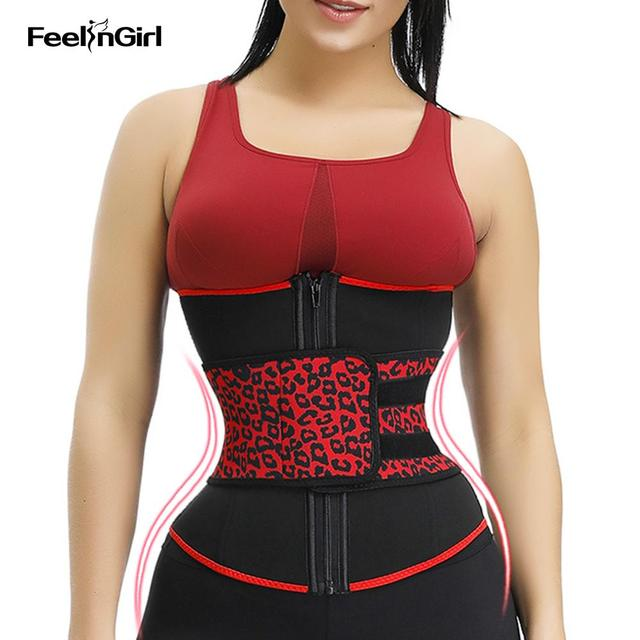 FeelinGirl Neoprene Waist Trainer Girdles 7 Steel Bones Sweat Sauna Body Shapers Slimming Corset Fitness Modeling Belt Faja