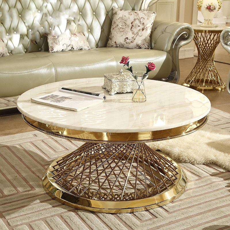 Italian Style Modern Marble Coffee Table Large Round Luxury Living Room Nordic Stainless Steel Golden Creative Center Table