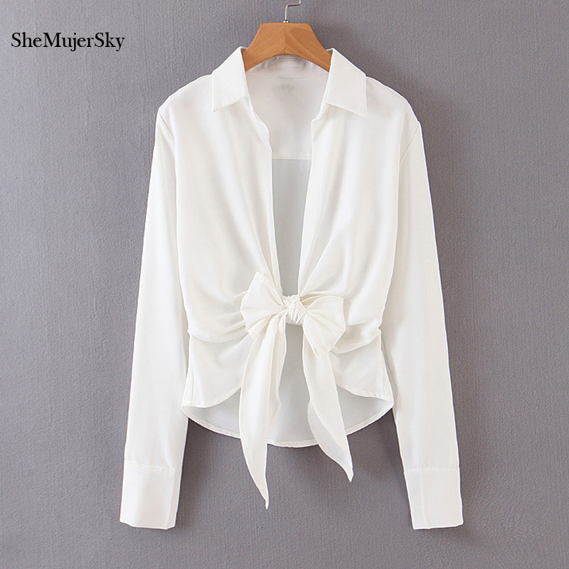 SheMujerSky Women Sexy Bandage Bow Tie Blouse Turn-down Collar Long Sleeve White Shirt 2019 Ladies Tops