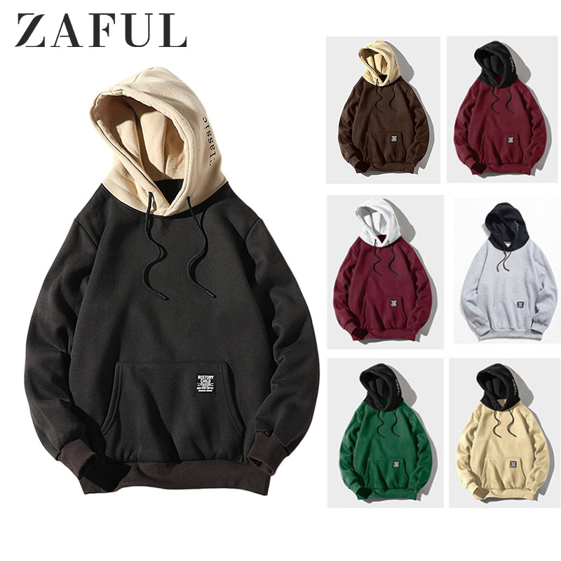 ZAFUL Men Hoodie Color-blocking Letter Patch Detail Pouch Pocket Sweatshirts Fleece Casual Hip Pop Hoodies Cool Women Pullovers