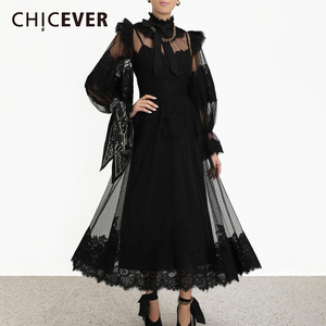 Image 2 - CHICEVER Perspective Patchwork Mesh Dress Women Stand Collar Lantern Sleeve High Waist Lace Up Dresses Female 2019 New Clothes