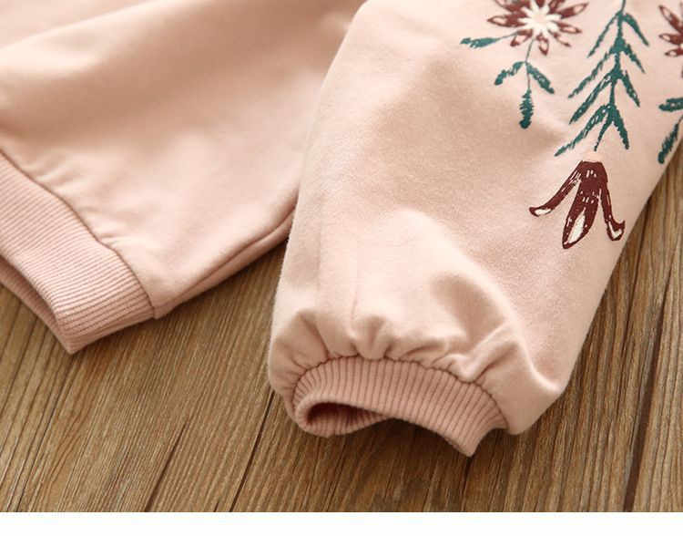 2019 가을, 겨울 새 여자 패션 장식 조각 백조 스웨터 어린이 둥근 목 스웨터 핑크 셔츠 아이 옷