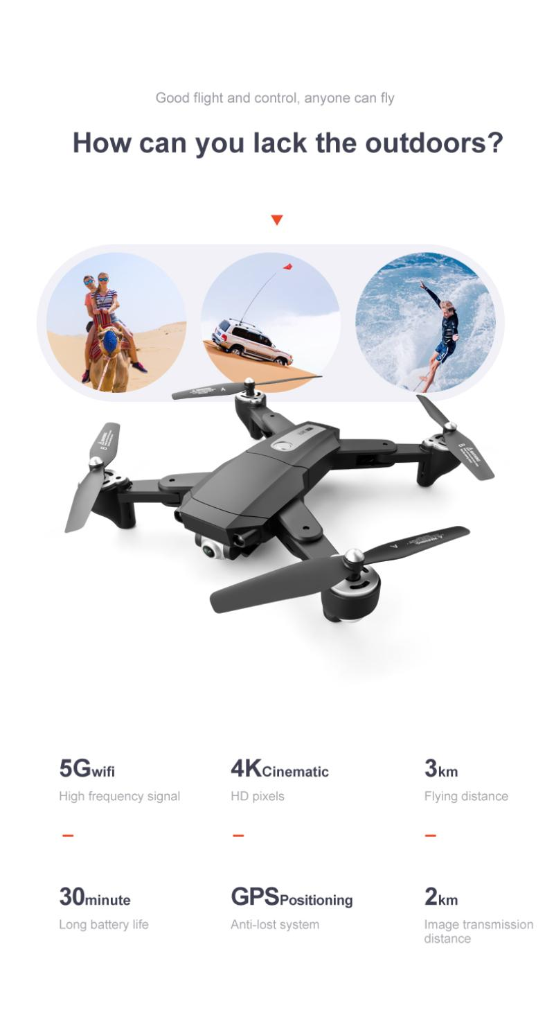 Hada4eed7efe5442da926d9aadab249545 - 2021 New Drone S604 6K 1080P HD Camera WiFi Fpv Flight 30 Minutes Altitude Hold Foldable Quadcopter Automatic Return Drone Gifts