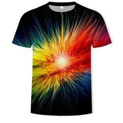 Colorful Men And Women Cosmic Star 3D Printed T-Shirts Boys/Girls Aurora Astronauts Fashion Street Tops