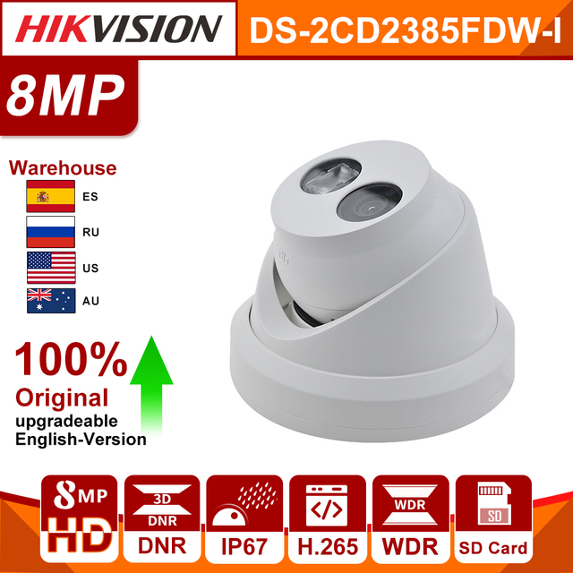 Original HIKVISION 8MP IP Camera DS 2CD2385FWD I Updatable WDR Built in SD Card Slot IR30m H.265 POE Security camera