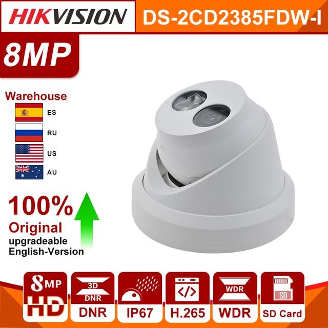 Orijinal HIKVISION 8MP IP kamera DS 2CD2385FWD I güncellenebilir WDR dahili SD kart yuvası IR30m H.265 POE güvenlik kamera