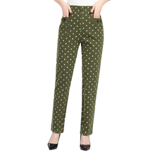 Woman Polka Dot Trouser Autumn Casual Elastic Waist Green Gray Navy Blue Dotted Pattern Pants For Women Cotton Bottoms Plus Size