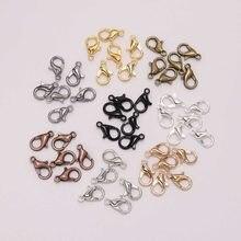 Lot de crochets à homard en alliage or Bronze doré, fournitures pour fabrication de bijoux, création de chaînes, DIY, Bracelet, 12*6mm, 50 pièces/lot