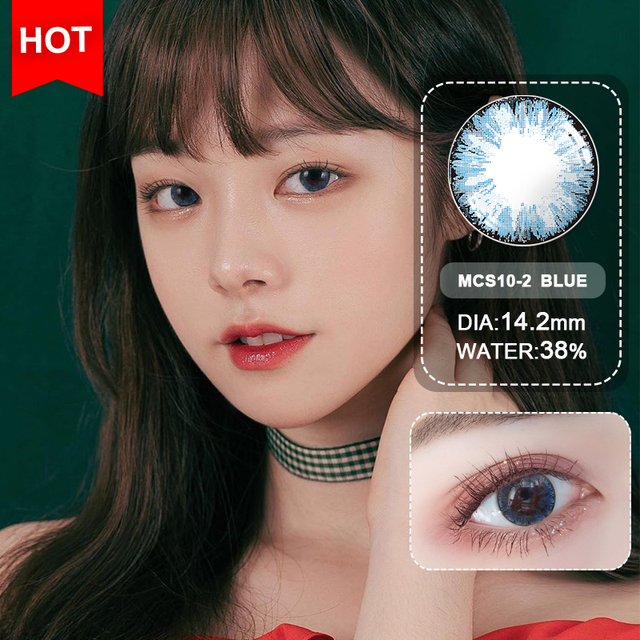 Blue Contacts 2020 NEW HIDIROCOR Two Piece Colored Contacts beautiful pupil color contact lenses contact lenses for eyes color 4