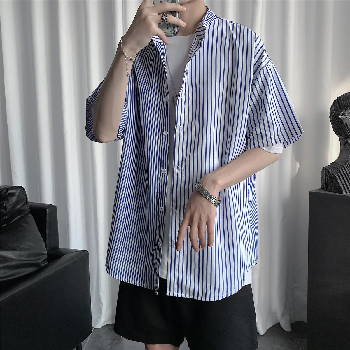 2020 Summer Men's Stripe Printing Splicing Color Shirt Loose Casual Cotton Clothes Shirt Blue/black Color Camisa Masculina M-5XL
