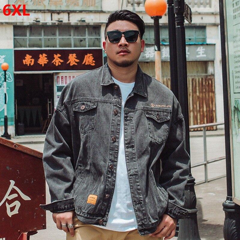 Tide brand large size men's black gray denim jacket big size male fat casual jacket pocket fashion