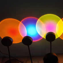 5V USB Rainbow Sunset Red Projector Led Night Light Sun Projection Desk Lamp for Bedroom Bar Coffee Wall Decoration Lighting