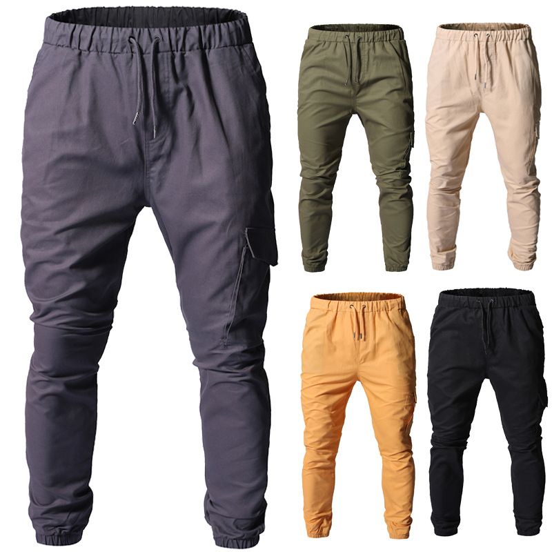New Style Thin Drawstring Simple Solid Color Men Loose Bib Overall Casual Sports Beam Leg Trousers